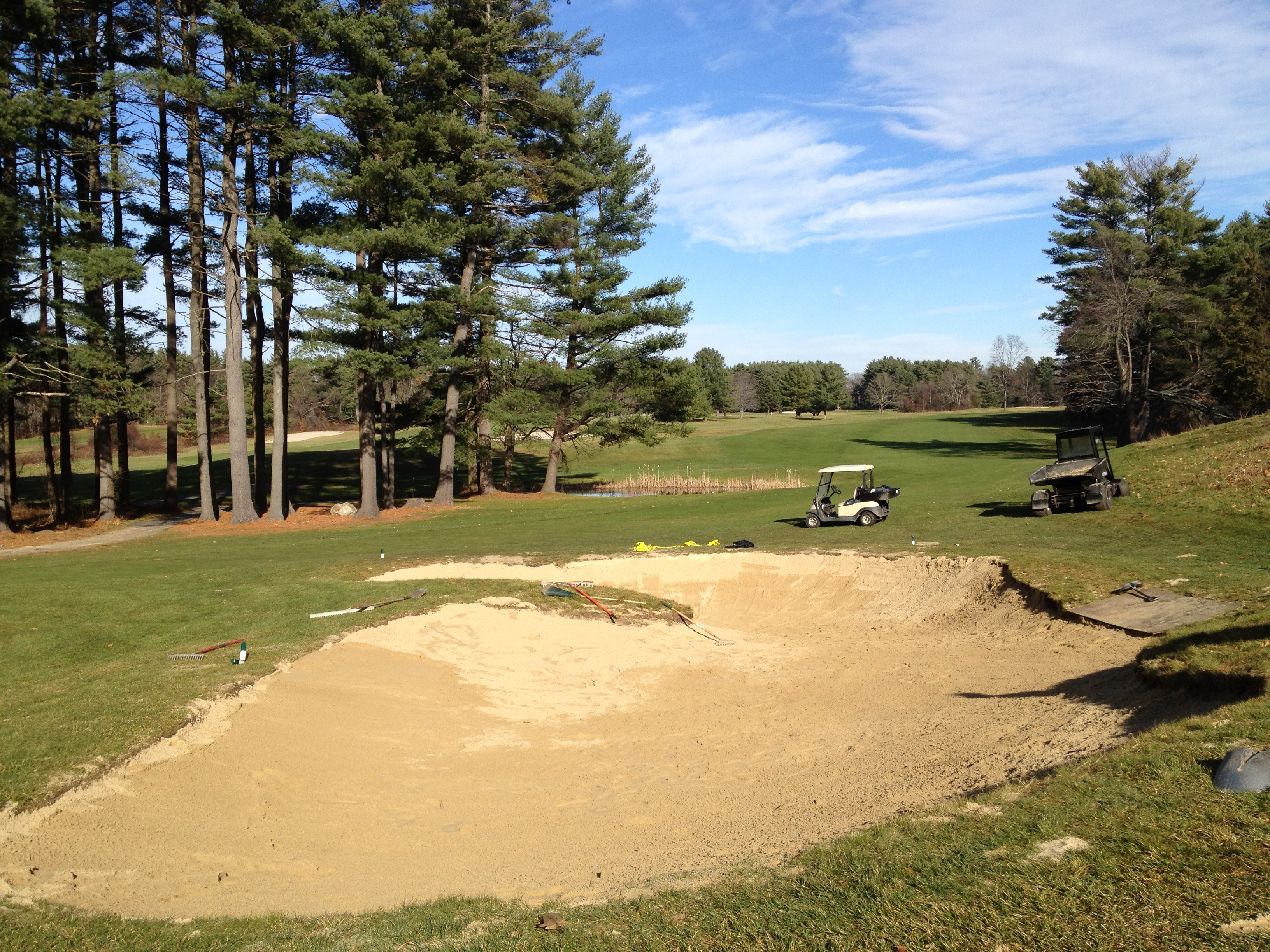 Bunker renovation complete and post-Christmas work… | Stow Acres Turf
